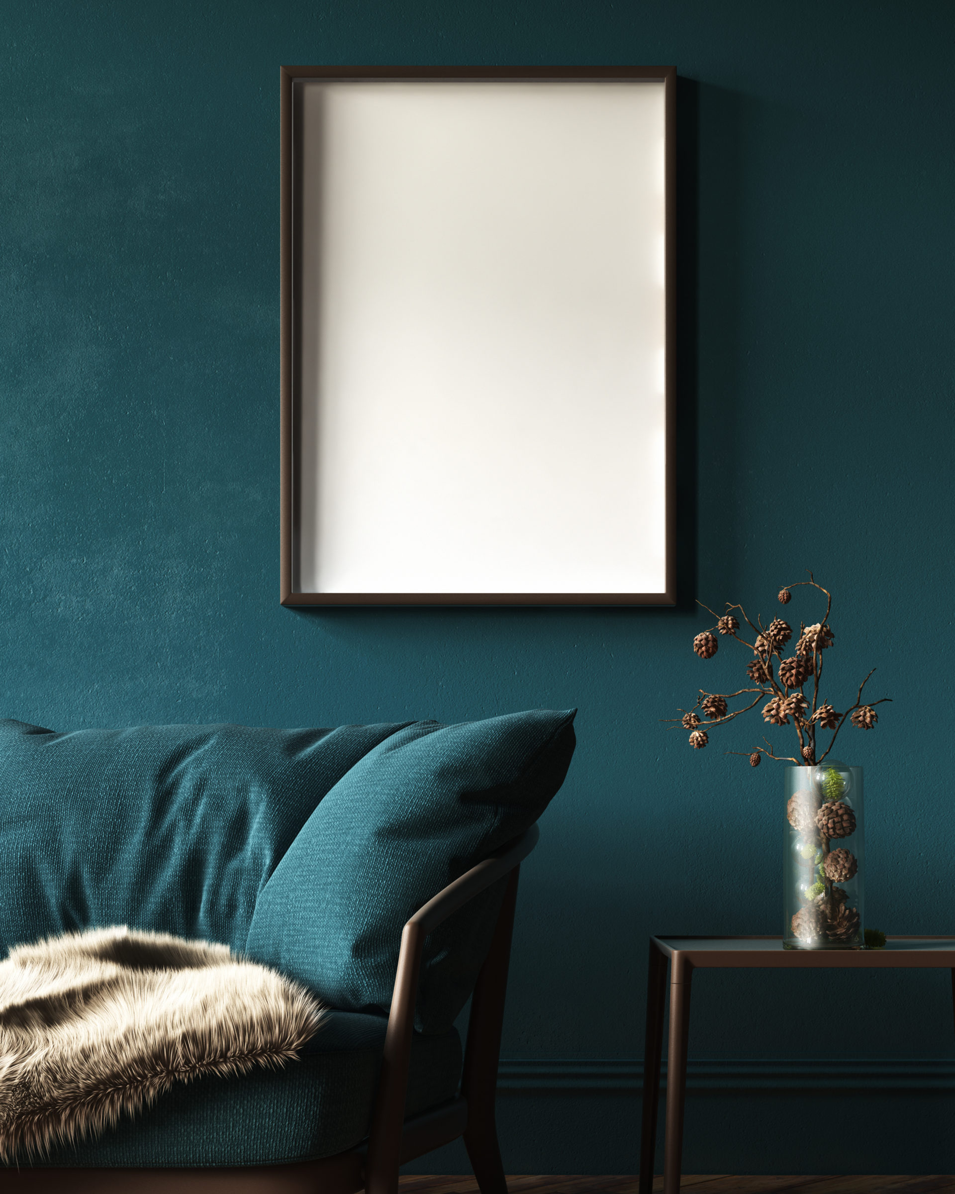 Mock Up Frame In Dark Green Home Interior With Sofa, Fur, Table And Branch In Vase, 3d Render